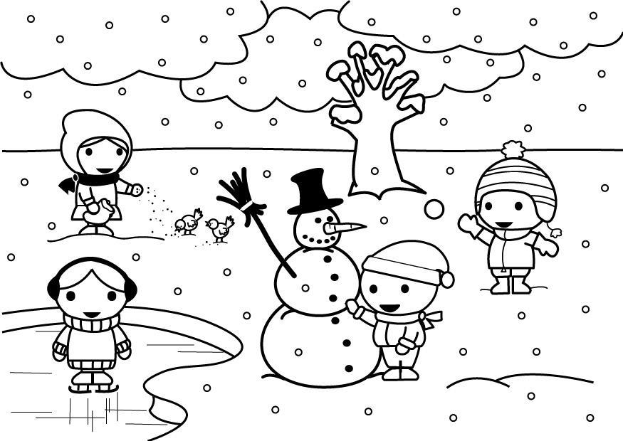 Coloriage 2b hiver img 26888 for Disegno paesaggio invernale