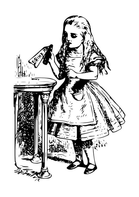 Coloriage Alice au pays des merveilles - buvez-moi - img 19055