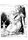 Coloriage Alice au pays des merveilles - dans le tunnel
