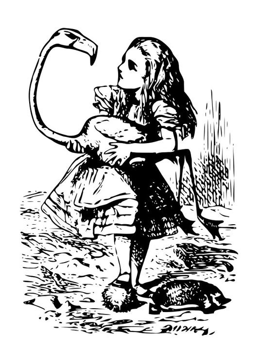 Coloriage Alice Au Pays Des Merveilles Flamant Rose Img 19054