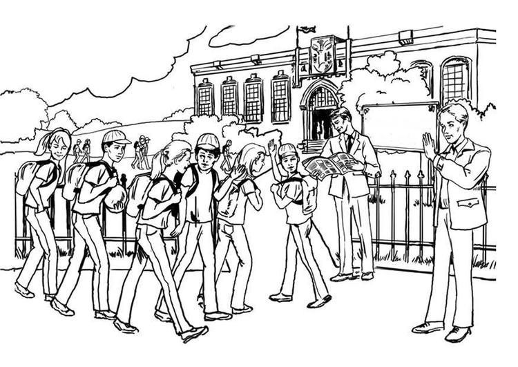 Dibujos Sobre La Escuela Para Colorear E Imprimir: Coloriage Aller à L'école Secondaire
