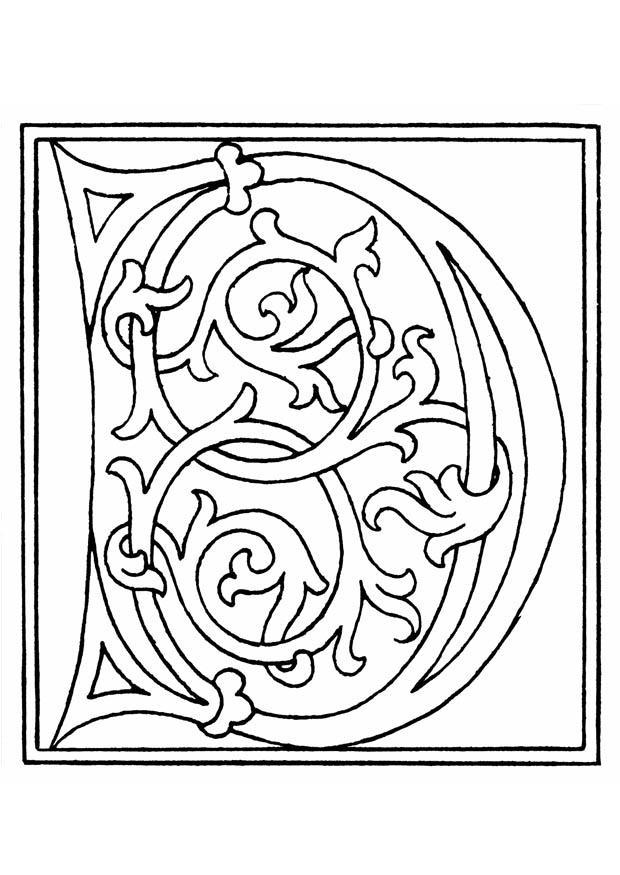 Coloriage 01a alphabet d img 11251 - Coloriage moyen age maternelle ...