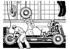 Coloriage ancienne usine automobiles