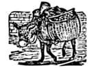 Coloriage âne avec charge