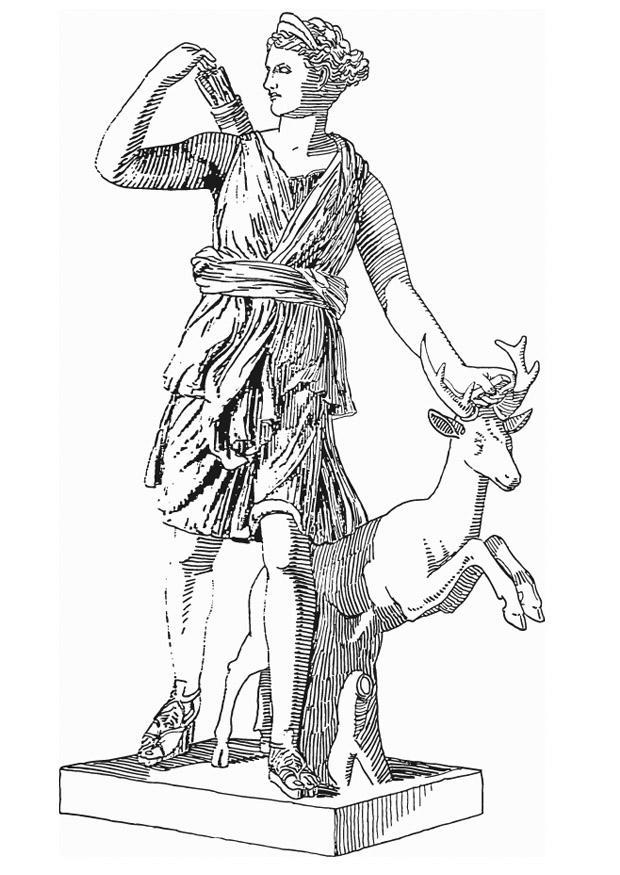 hercule_Coloriage Artémis, déesse de la mythologie Grecque - Coloriages Gratuits à Imprimer