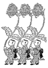 Coloriage Asie-transporteurs de chrysanthème jaune