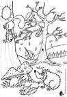 Coloriage automne - écureuil et hérisson