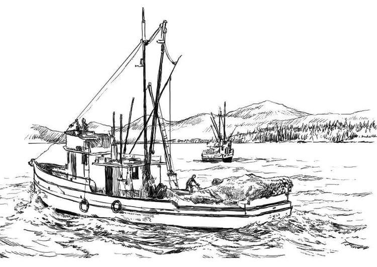 bateau de peche a colorier