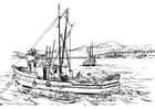 Coloriage bateau de pêche