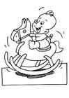 Coloriage bébé sur un cheval à bascule