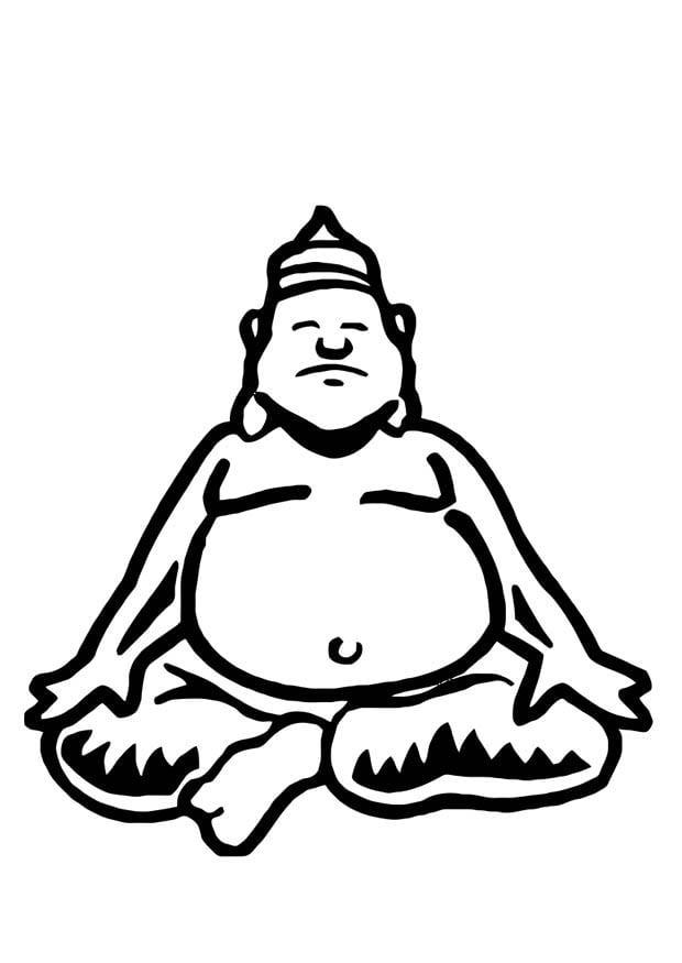 mewarnai mantap djiwa lachende boeddha kleurplaat