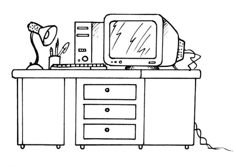 Coloriage Bureau Avec Un Ordinateur Coloriages Gratuits A Imprimer Dessin 8190