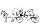 Coloriage carrosse avec chevaux