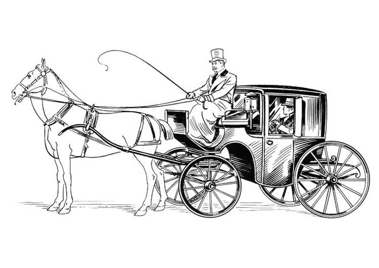 Dessin Carrosse coloriage carrosse avec cocher et cheval - img 18830