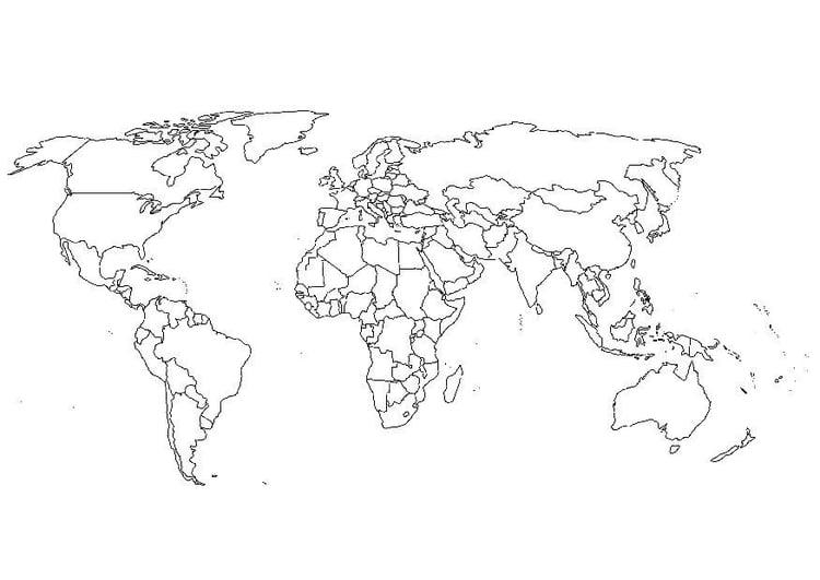 carte du monde coloriage Coloriage carte du monde   Coloriages Gratuits à Imprimer