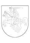 Coloriage cavalier à cheval dans le bouclier