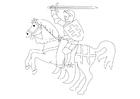Coloriage cavalier à cheval