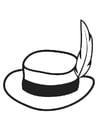 Coloriage chapeau avec plume