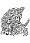 Coloriage chat avec chaton