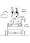 Coloriage cheval dans la charrette