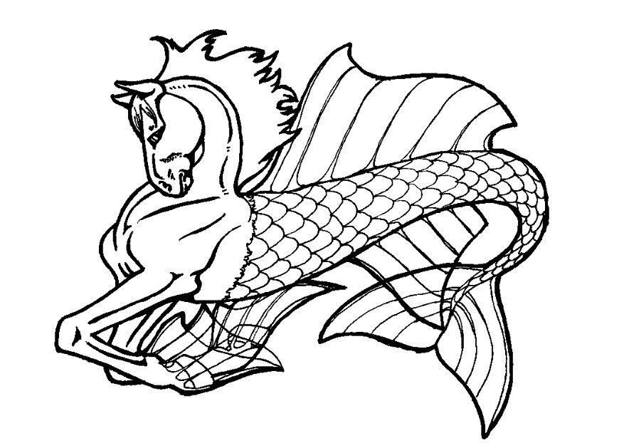 Coloriage cheval de mer - Coloriages Gratuits à Imprimer