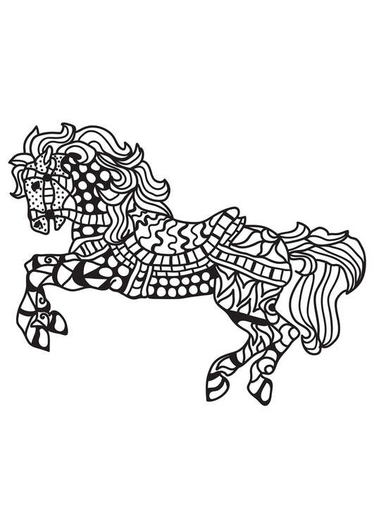 Coloriage cheval sellé