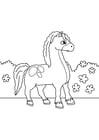 Coloriage cheval sur le pouce