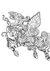 Coloriage cheval volant