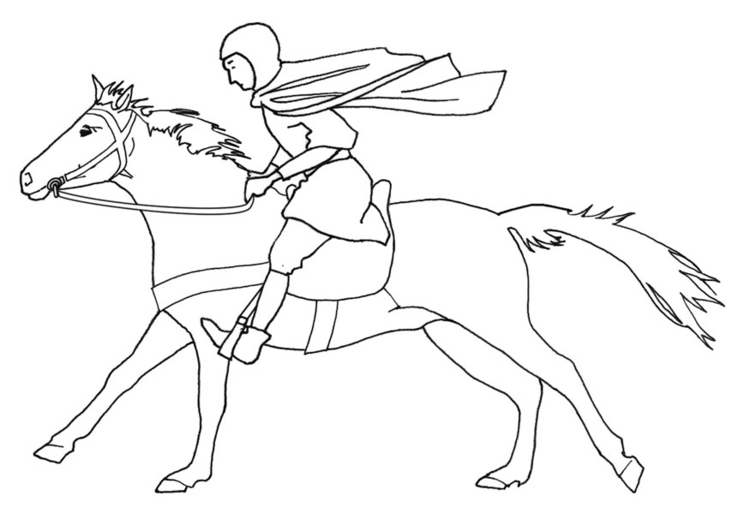 Coloriage chevalier au galop