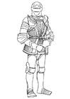 Coloriage chevalier avec son armure