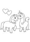 Coloriage chevaux amoureux