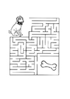 Coloriage chien labyrinthe