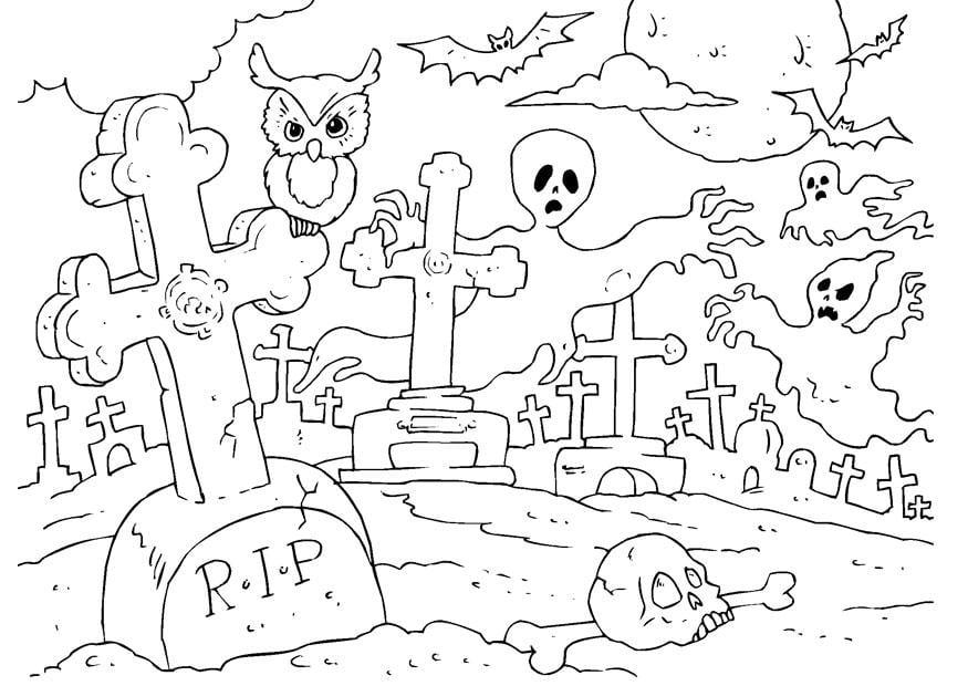 coloriage cimeti u00e8re halloween