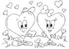 Coloriage coeurs Saint-Valentin