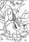 Coloriage combat de dinosaures
