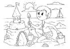 Coloriage construire un château de sable