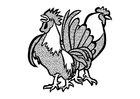 Coloriage Coq et poule