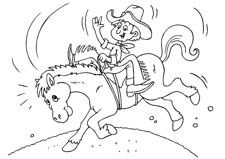 Coloriage Cow Boy 224 Cheval Img 25972