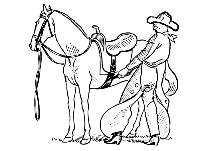 Coloriage cowboy selle cheval