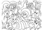 Coloriage crèche de Noël - naissance de Jésus