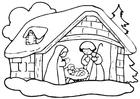 Coloriage crèche de Noël