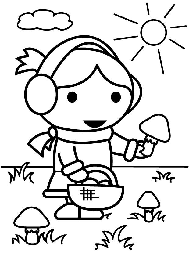 Coloriage cueillir des champignons - Coloriages Gratuits à Imprimer