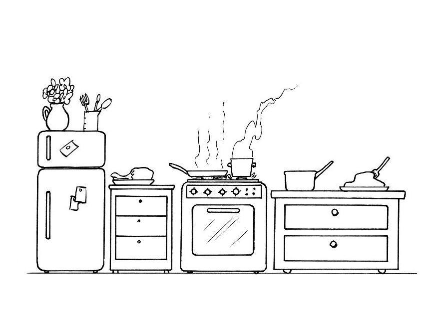 coloriage cuisine img 21337. Black Bedroom Furniture Sets. Home Design Ideas