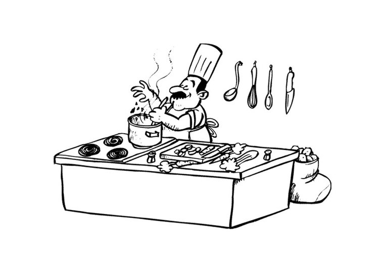 Coloriage cuisinier img 9726 for Cuisinier etude