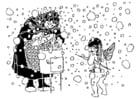Coloriage Cupidon et la vieille femme