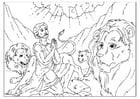 Coloriage Daniel dans la fosse aux lions