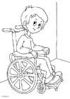 Coloriage dans un fauteuil roulant