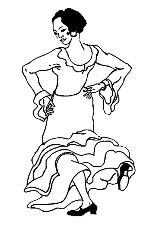 Coloriage danseuse de flamenco