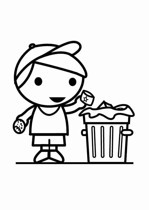 Coloriage d chets dans la poubelle img 23941 - Dessin de poubelle ...