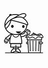 Coloriage déchets dans la poubelle